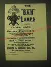 1893 Bradley & Hubbard Lamp Ad - The B&H Lamps are known, used and praised