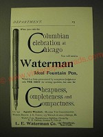 1893 Waterman Ideal Fountain Pen Ad - Columbian Celebration at Chicago