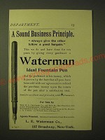 1893 Waterman ideal Fountain Pen Ad - A sound business principle