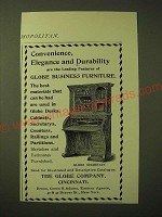1893 Globe Secretary Desk Ad - Convenience, elegance and durability