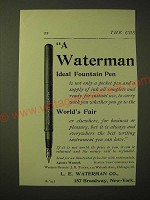 1893 Waterman Ideal Fountain Pen Ad - Not Only a Pocket Pen