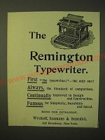 1893 Remington typewiter Ad