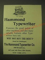 1893 Hammond Typewiter Ad - Why not buy the best?