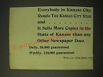 1893 Kansas City Star Ad - Everybody in Kansas City reads the Kansas City Star