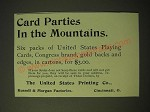 1893 The United States Printing Company Congress Cards Ad - Card parties