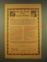 1918 Union Pacific Railroad Ad - Saving food on the Union Pacific