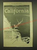 1918 Santa Fe RailRoad Ad - Motor all winter in California