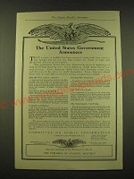 1918 Committee on Public Information Ad - The United States Government Announces