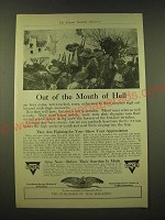 1918 YMCA Young Men's Christian Association Ad - Out of the mouth of Hell