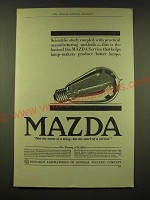 1918 General Electric Mazda light bulb Ad - Scientific study