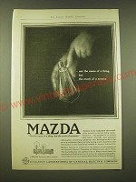 1918 General Electric Mazda light bulb Ad - the mark of a service