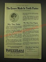 1918 Pepsodent Toothpaste Ad - The errors made in Tooth Pastes