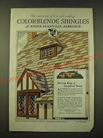 1918 Johns-Manville Asbestos Color-Blende Shingles Ad - The aristocrat