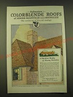 1918 Johns-Manville Asbestos Color-Blende Shingles Ad