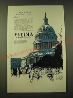 1918 Fatima Cigarettes Ad - And at all 6 stands in the Capitol building