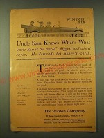 1918 Winton Six Ad - Uncle Sam Knows What's What