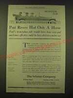 1918 Winton Six Ad - Paul Revere had only a horse