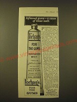 1918 Forhan's Toothpaste Ad - Inflamed gums - a cause of loose teeth