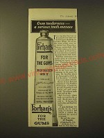 1918 Forhan's Toothpaste Ad - Gum tenderness - a serious tooth-menace