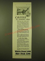 1924 White Star Line Ad - Cruise to summer skies
