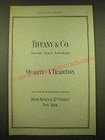 1924 Tiffany & Co. Ad - Jewelry Pearls Silverware Quality - A Tradition