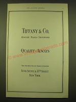 1924 Tiffany & Co. Ad - Jewelry Pearls Silverware Quality - Always