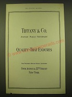 1924 Tiffany & Co. Ad - Jewelry Pearls Silverware Quality - That Endures