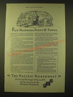 1924 Northern Pacific Railway Ad - Raw Materials, Ports & Power