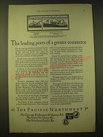 1924 Northern Pacific Railway Ad - Leading Ports of Commerce