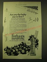 1924 Forhan's For the Gums Toothpaste Ad - Are you the lucky one in five?