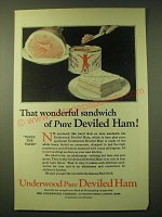 1924 Underwood Deviled Ham Ad - That wonderful sandwich of pure Deviled Ham