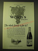 1924 Welch's Grape Juice Ad - Welch's Grape Juice The Whole Family is for it!