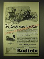 1924 RCA Radiola Regenoflex Radio Ad - The family takes to politics