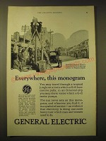 1924 General Electric Incadescent street lighting Ad - Everywhere, this monogram