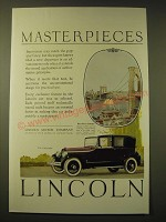1924 Lincoln Cabriolet Ad - the Brooklyn Bridge - Masterpieces