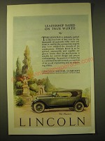 1924 Lincoln Phaeton Car Ad - Leadership based on true worth