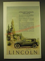 1924 Lincoln Phaeton Car Ad - A principle consistently adhered to