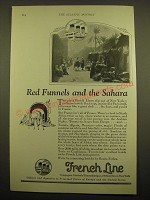 1924 French Line Cruise Ad - Red funnels and the sahara
