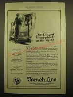 1924 French Line Cruise Ad - The longest gang-plank in the world