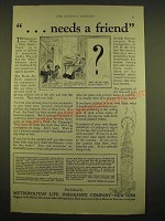 1924 Metropolitan Life Insurance Ad - needs a friend