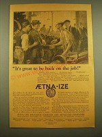 1924 Aetna Life Insurance Ad - It's great to be back on the job