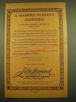 1924 John Hancock Life Insurance Ad - A Married Woman's happiness