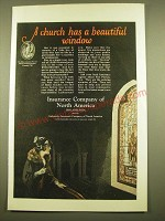 1924 Insurance Company of North America Ad - A church has a beautiful window