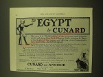 1924 Cunard and Anchor S.S. Tuscania Cruise Ad - To Egypt by Cunard