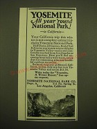 1924 Yosemite National Park Co. Ad - Yosemite all year 'round National Park!