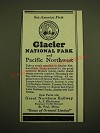 1924 Great Northern Railway Ad - See America First Glacier National Park