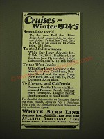 1924 White Star Line Red Star Line Ad - Cruises - Winter 1924-5