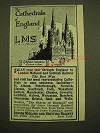 1924 LMS London Midland and Scottish Railway Ad - The Cathedrals of England