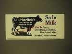 1924 Horlick's Malted-Milk Ad - Safe Milk