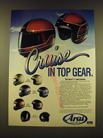 1990 Arai F-1 and Classic Motorcycle Helmets Ad - Cruise in top gear